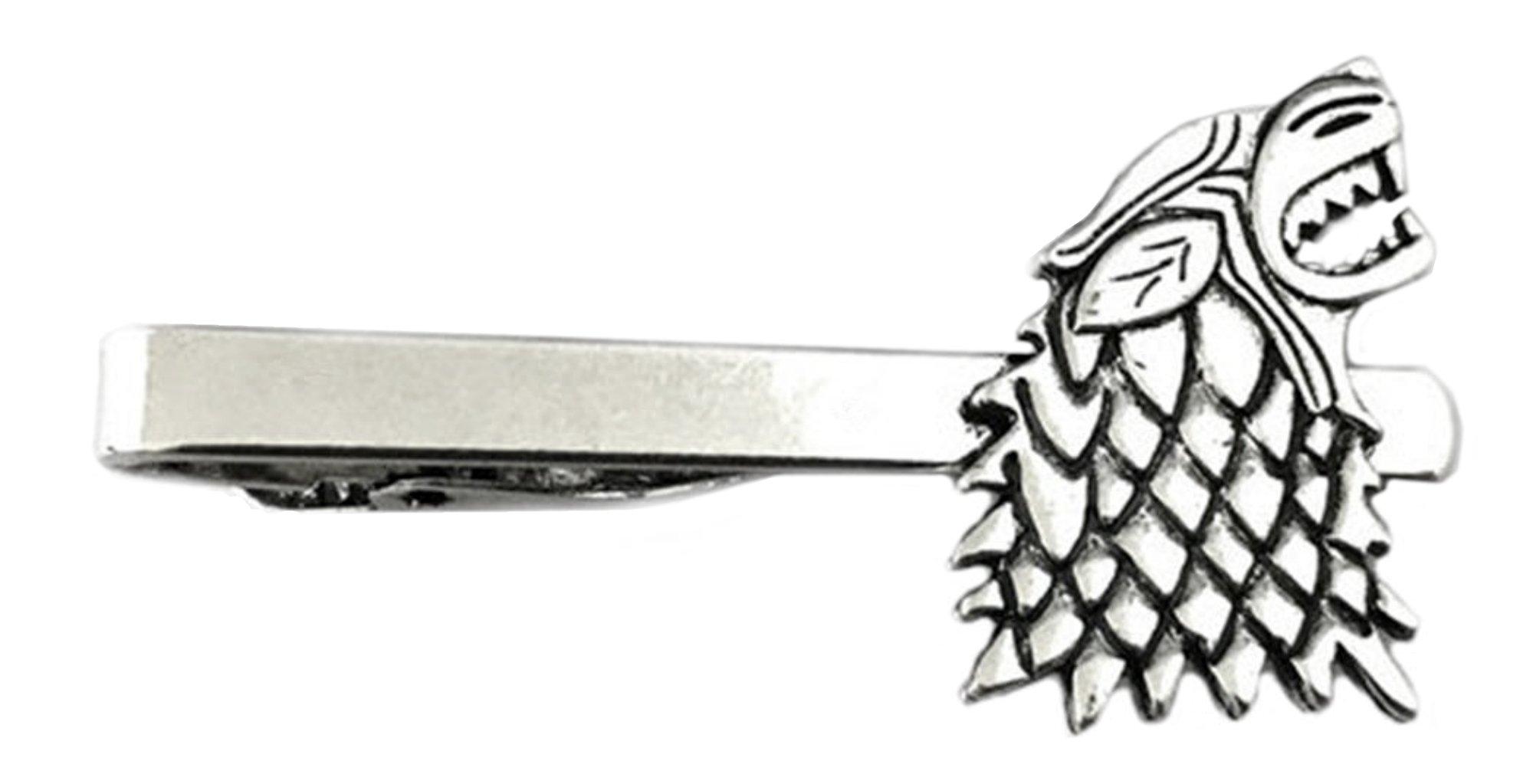Outlander Game of Thrones House Stark - TV Series - Tiebar Tie Clasp Wedding Superhero Logo w/Gift Box