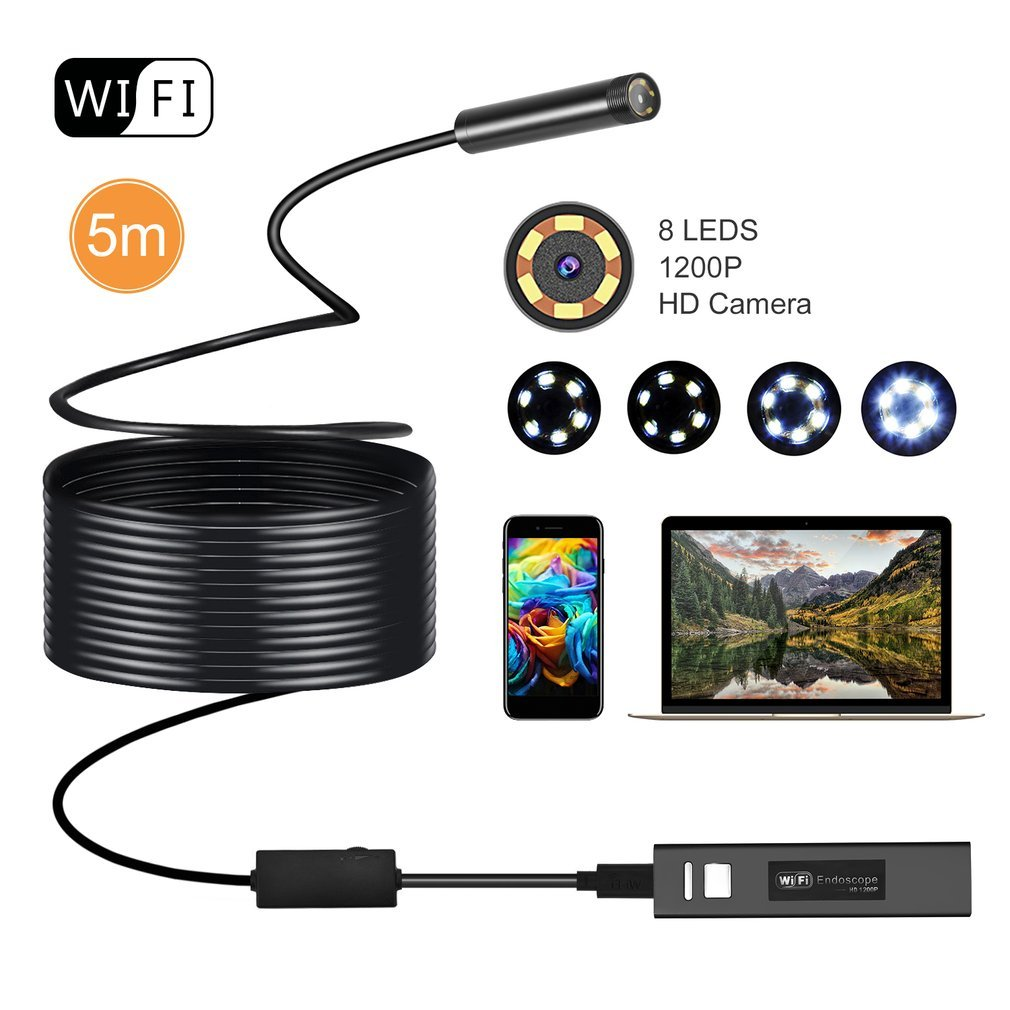 Wireless Endoscope, OUTAD 2.0 MP HD1200P Semi-Rigid WIFI USB Inspection Camera  With 8 Adjustable LED Light Snake Camera For Android Smartphone Windows and MC IOS Computer 5 Meters