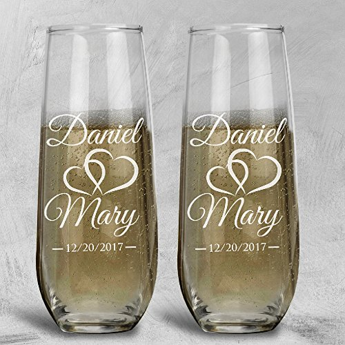 P Lab Set of 2, Bride Groom Names & Date Hearts, Personalized Wedding Toast Stemless Champagne Flute Set, Wedding Toasting Glasses - Etched Flutes for Bride & Groom Customized Wedding Gift #9