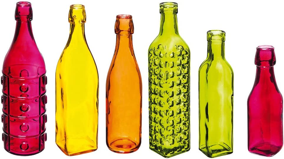 Evergreen Decorate Your Garden Colorful Glass Bottles, Set of 6