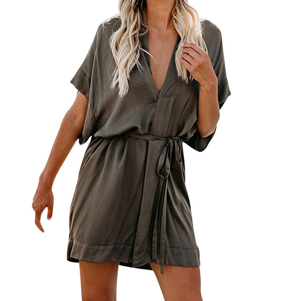 Kirbyates Women Casual Short Sleeve V Neck Button Lace Dress Evening Party Dress with Belt Green