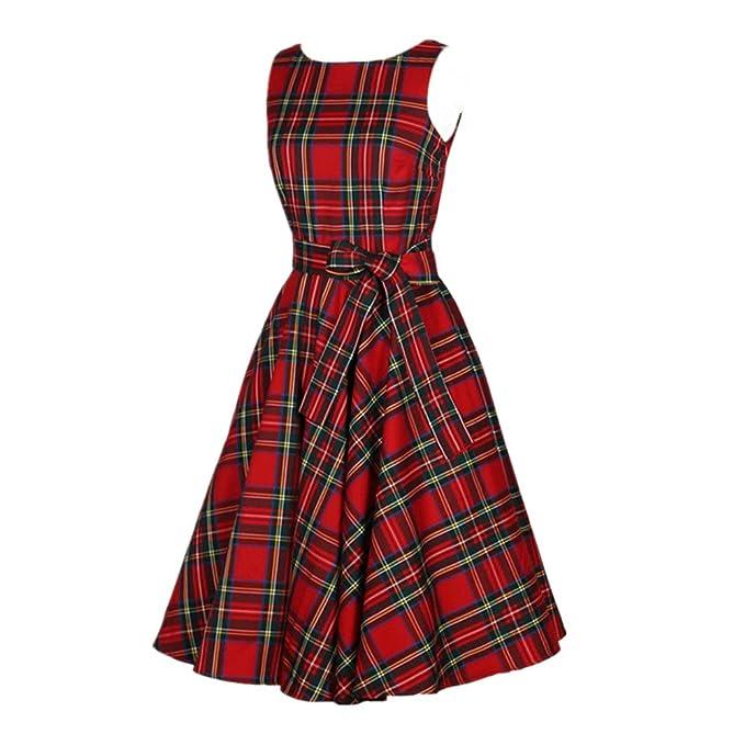 50s Vestidos Vintage Elegante Ceremonia de Boda Fiesta Mujer Vestido Retro Escocés Plaid Vestido sin mangas de la vendimia: Amazon.es: Ropa y accesorios