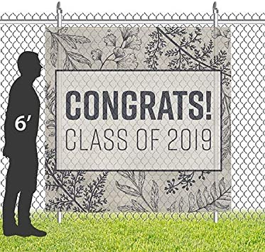 Graduation Party Square Wind-Resistant Outdoor Mesh Vinyl Banner 8x8 Glam Girl2 CGSignLab
