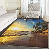 Ocean Area Rug Carpet Image of Palm Trees on Exotic Beach at Sunset with Waves in the Ocean Dominican Paradise Customize door mats for home Mat 2x3 Multi