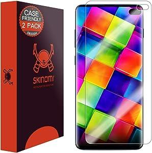 "Skinomi TechSkin [2-Pack] (Case Compatible) Clear Screen Protector for Samsung Galaxy S10 Plus (S10+ 6.4"") [Will NOT Work w/Verizon Galaxy S10 5G 6.7""] Anti-Bubble HD TPU Film"