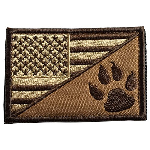 SpaceAuto USA Flag & Service Dog Paw Tactical Morale Badge P