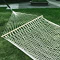"Esright 59"" Cotton Rope Double Hammock Hollow Out Patio Yard Hammock with Wood Spreader & Carabiners (Beige) from Esright"