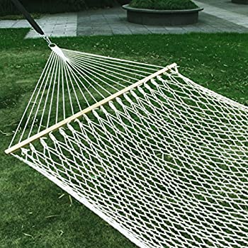 esright 59   cotton rope double hammock hollow out patio yard hammock with wood spreader  u0026 carabiners  beige  amazon     apontus 37627 double cotton rope hammock white      rh   amazon