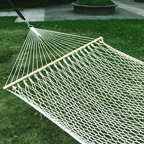 """Esright 59"""" Cotton Rope Double Hammock Hollow Out Patio Yard Hammock with Wood Spreader & Carabiners (Beige) Image"""
