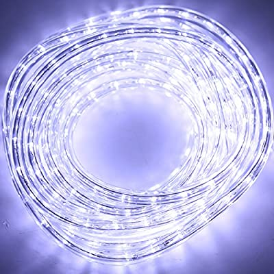 """Hykolity LED Indoor/Outdoor Holiday Christmas Round Strip Rope Light 216 Units SMD LEDs, Cool White, connectable,18FT, 1"""" bulb Spacing UL listed"""