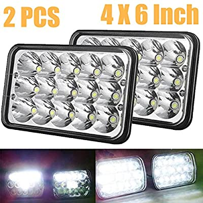 Pair of LED Headlamps / Headlights Conversion Kit 45W 6000K Hi/Lo High and Low Sealed Beam 4x6 Super Bright Rectangle Lights Bulbs H4/HB2/9003 Plug and Play Replace H4651, H4652, H4656, H4666, H6545