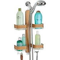 mDesign - Douche-organizer - doucherek - voor handdouches/extra bergruimte voor aan de douchekop/vier doucheschappen en…