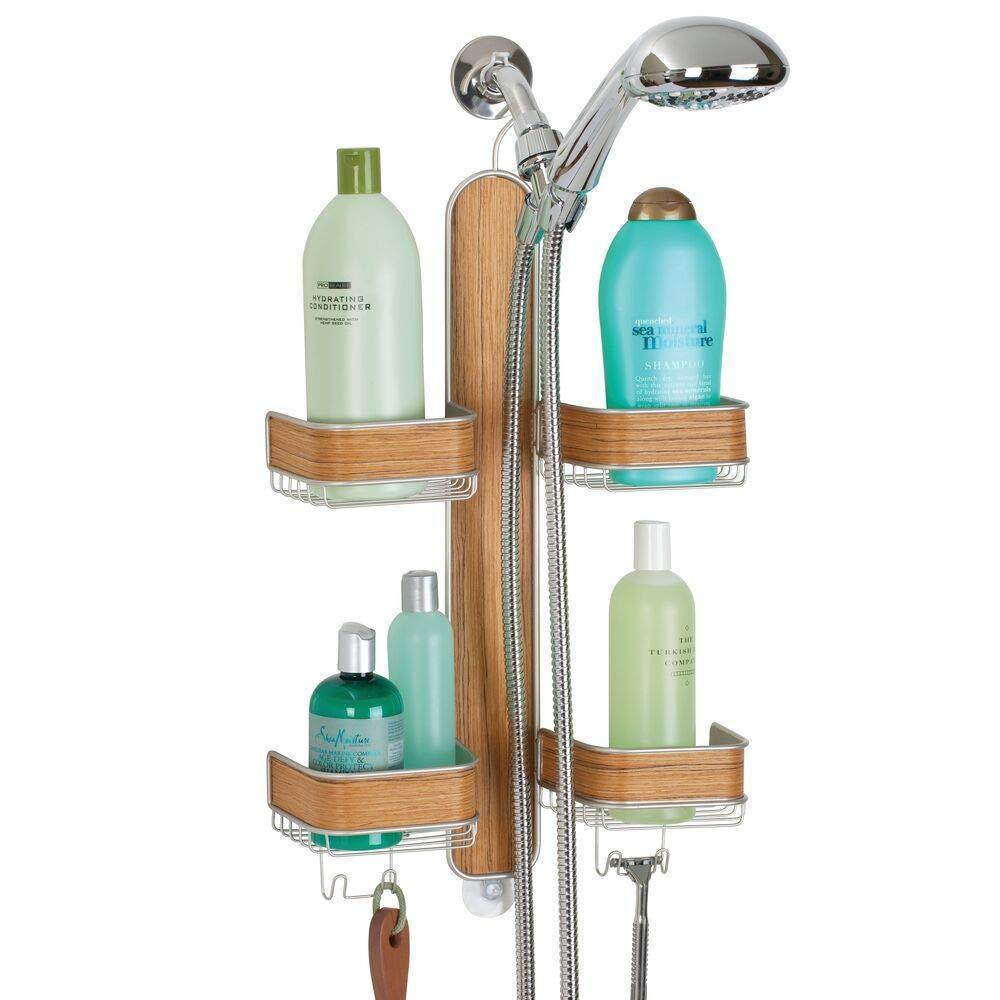 mDesign Metal Hanging Bath and Shower Caddy Storage Organizer for Hand Held Shower Head and Hose - 2 Levels for Bathroom Showers, Stalls, Bathtubs - 4 Shelf Format - Satin/Teak Wood Veneer Finish