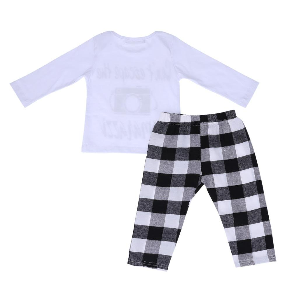 Kids Clothes Set,amazingdeal Boys Gils Printed Top+White-Black Plaid Pants 2pcs