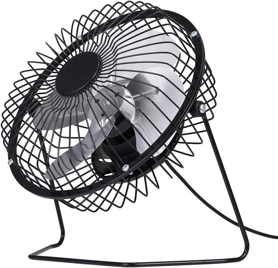 Black Festnight USB Mini Fan Desktop Cooler Fan Quiet Fan Metal Fan for Office and Home Use