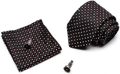 Ducomi Silk - Estuche para hombre con corbata, gemelos y pañuelo de bolsillo de seda 100% - Diseñado en Italia y cosido a mano - Paquete de regalo original y elegante Deluxe