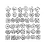 40 pcs Silver Rhinestone Brooches Set Crystal Wedding Invitation Brooch Bouquet Wholesale Lot AMBR665