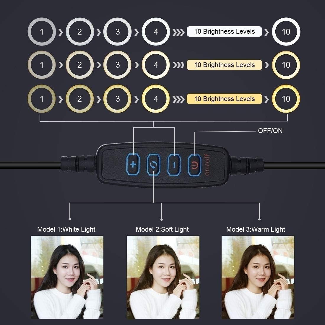 Camera Tripods JA Tripod Mount 6.2 inch 16cm LED Ring Vlogging Video Light Kits Live Broadcast Dual Phone Bracket Extension Rod