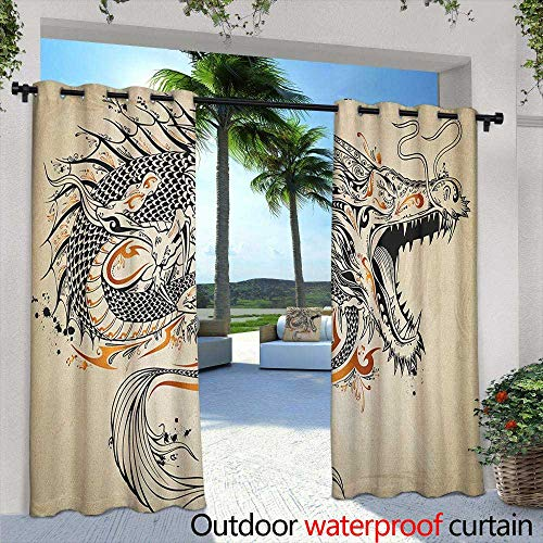LOVEEO Japanese Dragon Indoor/Outdoor Curtains Doodle Style Roaring Creature with Tail Fangs Scales Tribal Details Grommet Curtains for Bedroom 72
