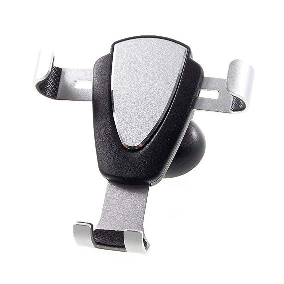 DFV mobile - Schwerkraftunterstützung mit Clip für Autolüftungsgitter für => DOOGEE Y6 Piano Black > Schwarz & Silber