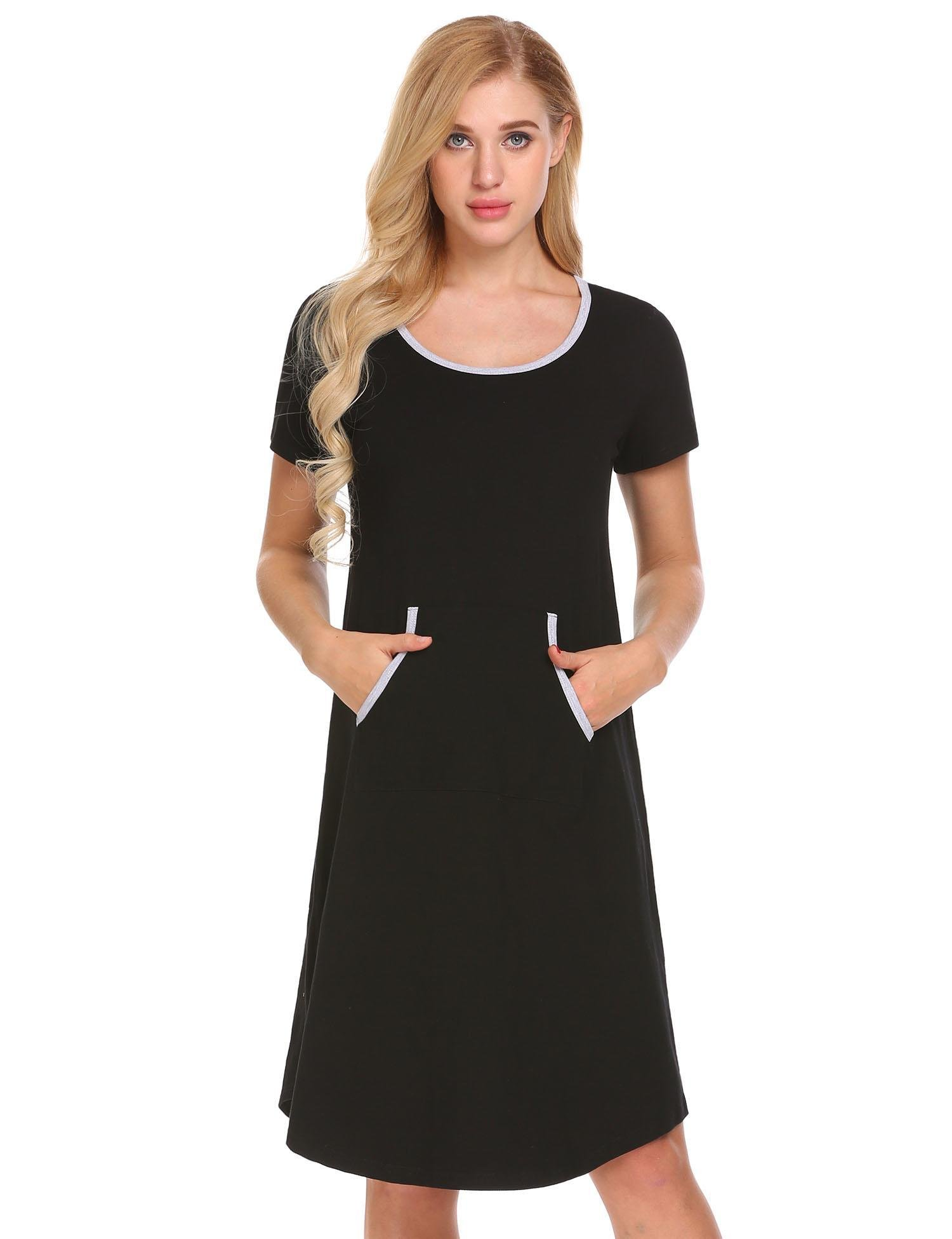 Ekouaer Ekoauer Womens Knit Nightgown Long Scoop Neck Sleep Dress,Black,XX-Large