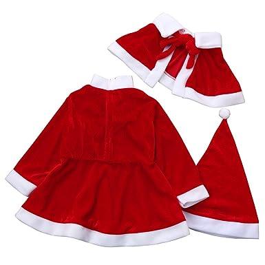 88631a41bf837 Noël bébé Filles Noël vêtements Costume + châle + Chapeau Tenue  Noël Robe    (