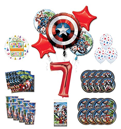 Mayflower Products Avengers 7th Birthday Party Supplies and 8 Guest Balloon Decoration - 8 Guest Kit Party