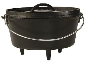 Lodge L10DCO3 Cast Iron Deep Camp Dutch Oven, Pre-Seasoned, 5-Quart