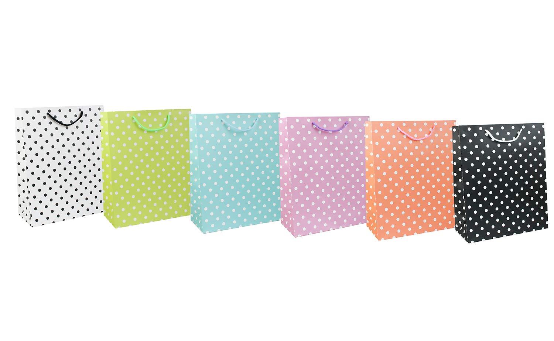 Emartbuy Set di 6 Lusso Sacchetto Regalo Carta Laminata Forte Opaco Colori Misti 26 x 32 x 12 cm Pois