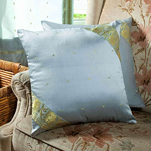 Gray - Set of 2 Decorative handcrafted Sari Cushion Cover, Throw Pillow Case 16