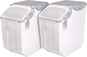 Yarlung 2 Pack 33 Lb Rice Storage Containers with Wheels, Large Plastic Storage Boxes with Seal Locking Lid for Kitchen Pantry, Pet Food (507oz/76cup/15L)