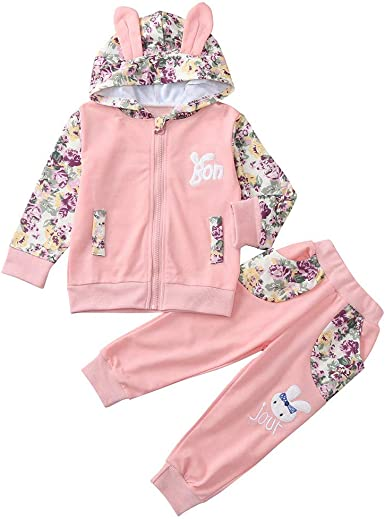 Long Pants 2Pcs Outfits Clothes Set Newborn Baby Boys Girls Floral Hoodie Top