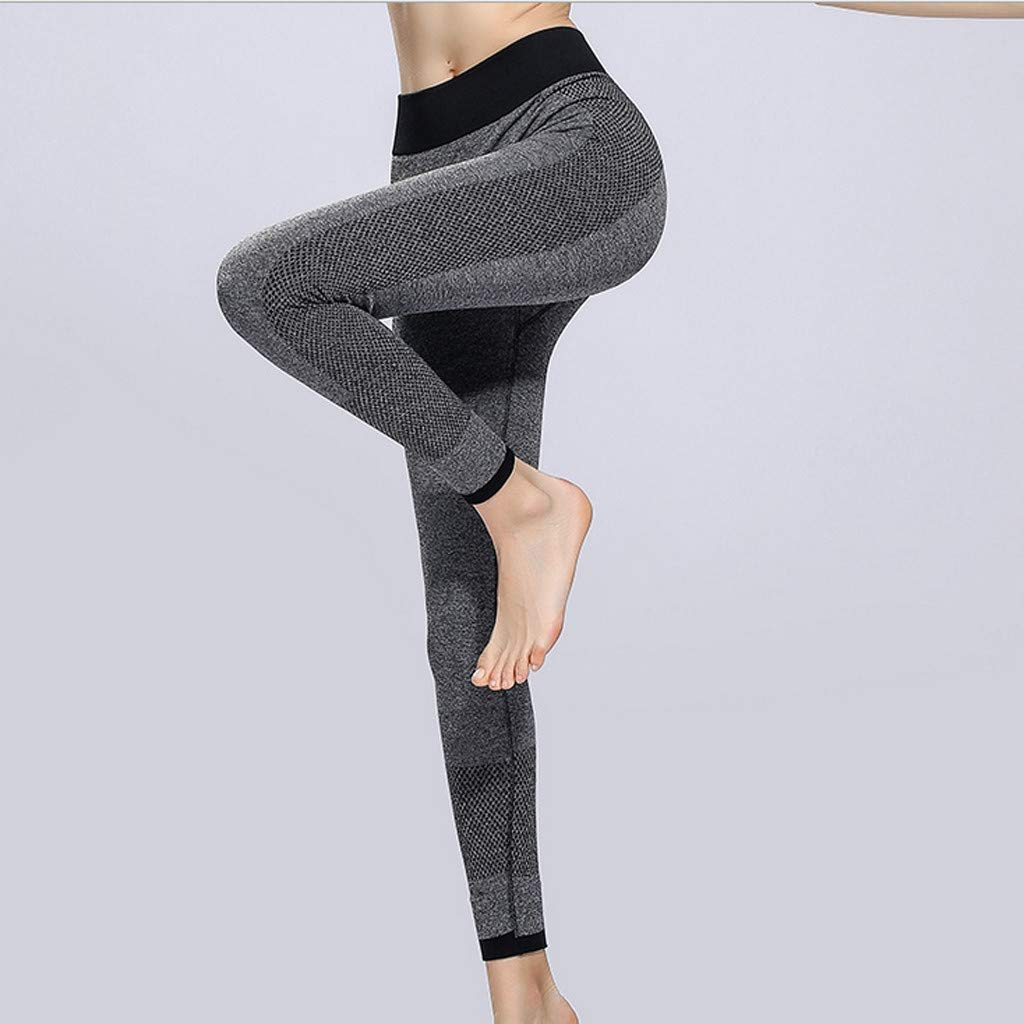 Sunyastor High Waist Yoga for Women Lightweight Leggings Running Gym Yoga Athletic Pants Tummy Control Compression Pant Gray by Sunyastor women pants (Image #2)