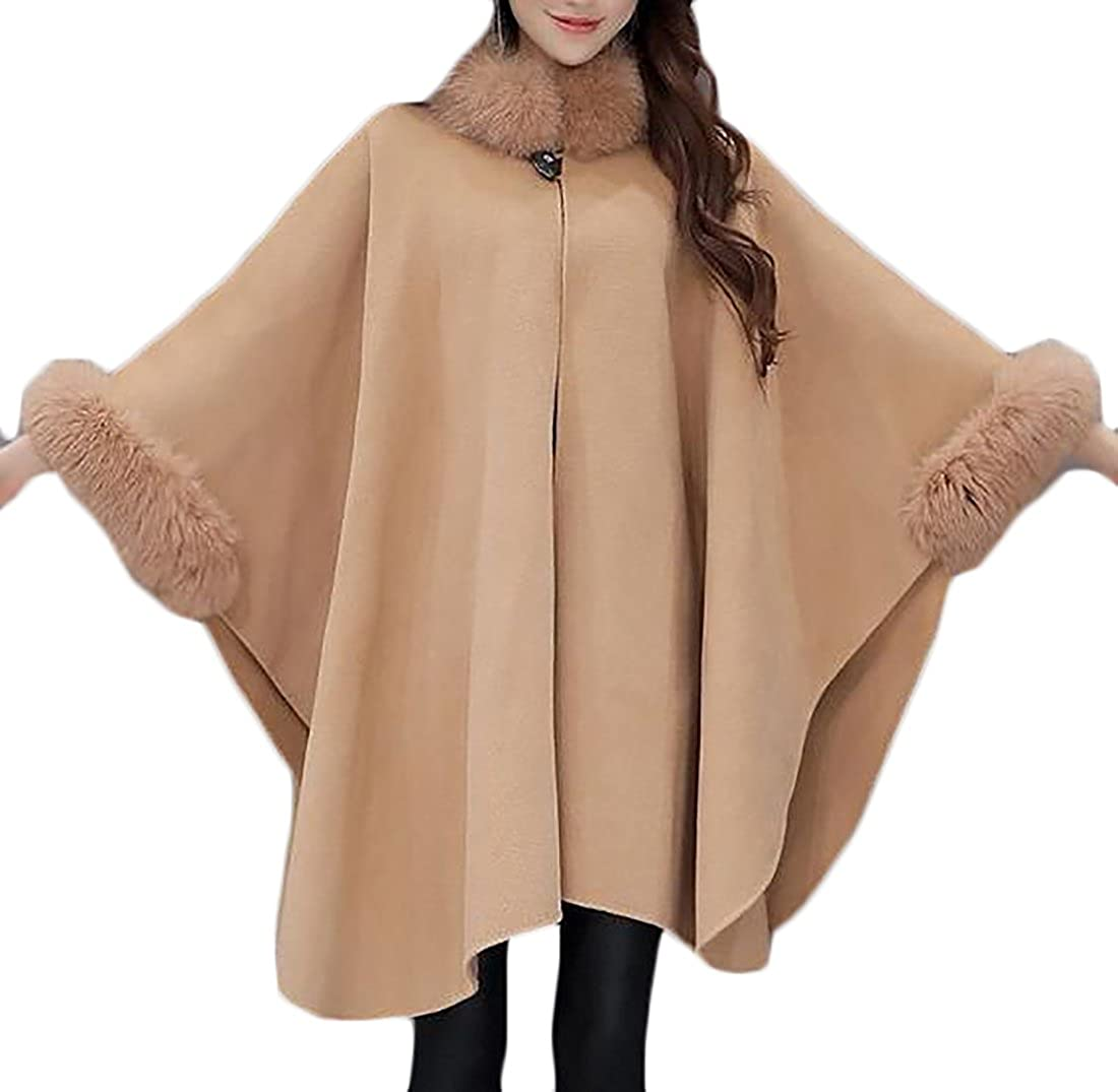 Cruiize Womens Elegant Faux Fur Collar Loose Cape Cloak Pea Coat Overcoat