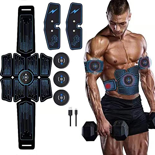 eAnjoy EMS Pads, ABS Stimulator Muscle Toner, Abdominal Toning Belt Muscle Trainer, Portable Fitness Trainer for Abdomen, Arm and Leg, with 6 Modes 8 Levels, USB Charging 8-Pack