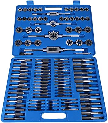 Juego de casquillos y dados, Estuche con juego de herramientas para enhebrar 110 piezas, tuerca roscada M2-M18 Juego de matrices con juego de herramientas de mano de uso pesado: Amazon.es: Bricolaje y