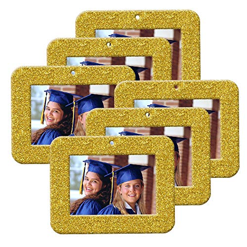 Mini Magnetic Glitter Christmas Photo Ornaments - 6-Pack, Horizontal - Bright Yellow Gold