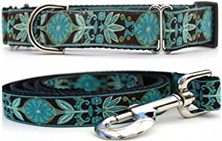 "product image for Diva-Dog 'Boho Peacock' 1"" Wide Chainless Martingale Dog Collar, Matching Leash Available"