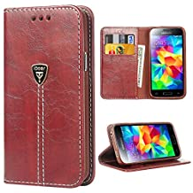 Galaxy S5 Case, S5 NEO Wallets iDoer Slim Magnetic Flip Leather Wallet Protective Case Cover for Samsung Galaxy S5 NEO - Brown