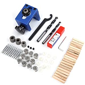 Self Centering Dowelling Jig, Walfront 6/8/10mm Wood Doweling Jig Hole Drilling Guide Woodworking Positioner Locator Tool Drilling Jig, Improved Version