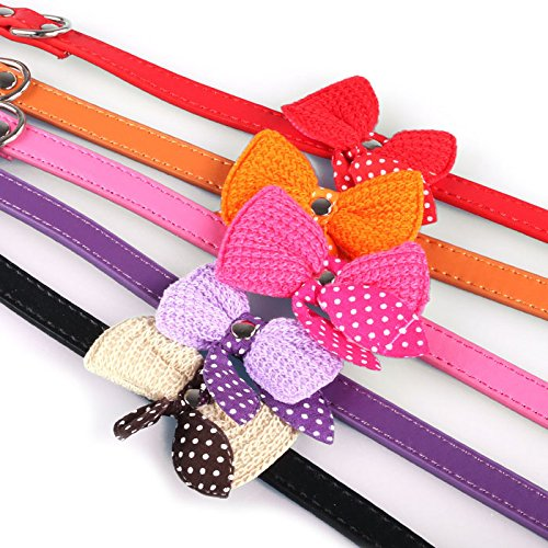 Pinleg Pet Collars Necklace Knit Bowknot Adjustable Leather Dog Puppy Neck Strap for Puppy Cute Collars For Small or Medium Dogs Cats (Orange)