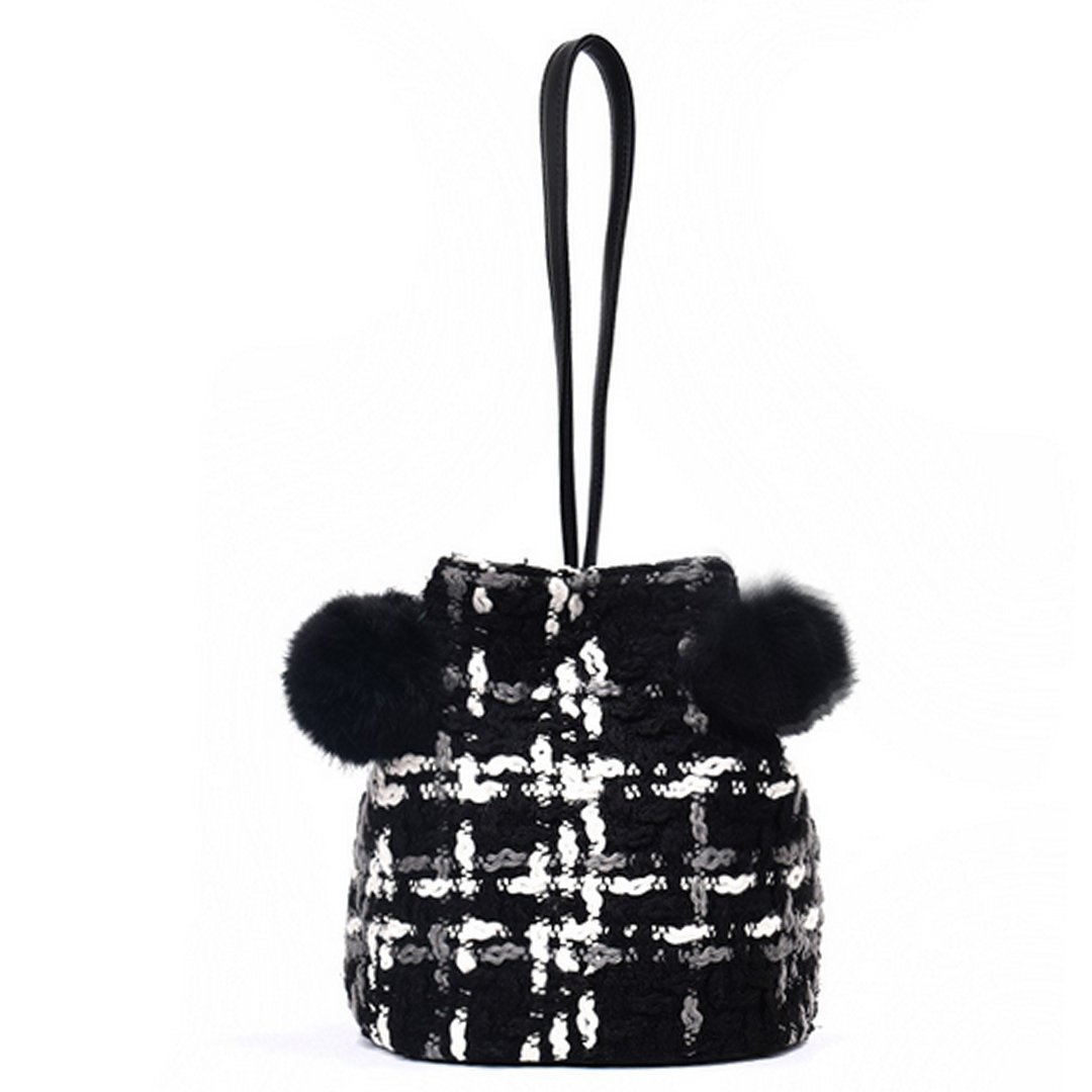 Felice Women Retro Vintage Bucket Tote Stylish Fur Ball Top Handle Satchel Shoulder Bag Wrist Handbags Purse Small Crossbody Bag (black)