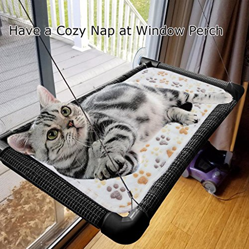 Cat Heated Perch (Cat Bed Window Perch Hammock Sunny Seat Space Saving Installs In Seconds No Tools Required Assembled Size Machine Washable Cover Great For Multiple Cats Keeps Cats Warm & Happy)
