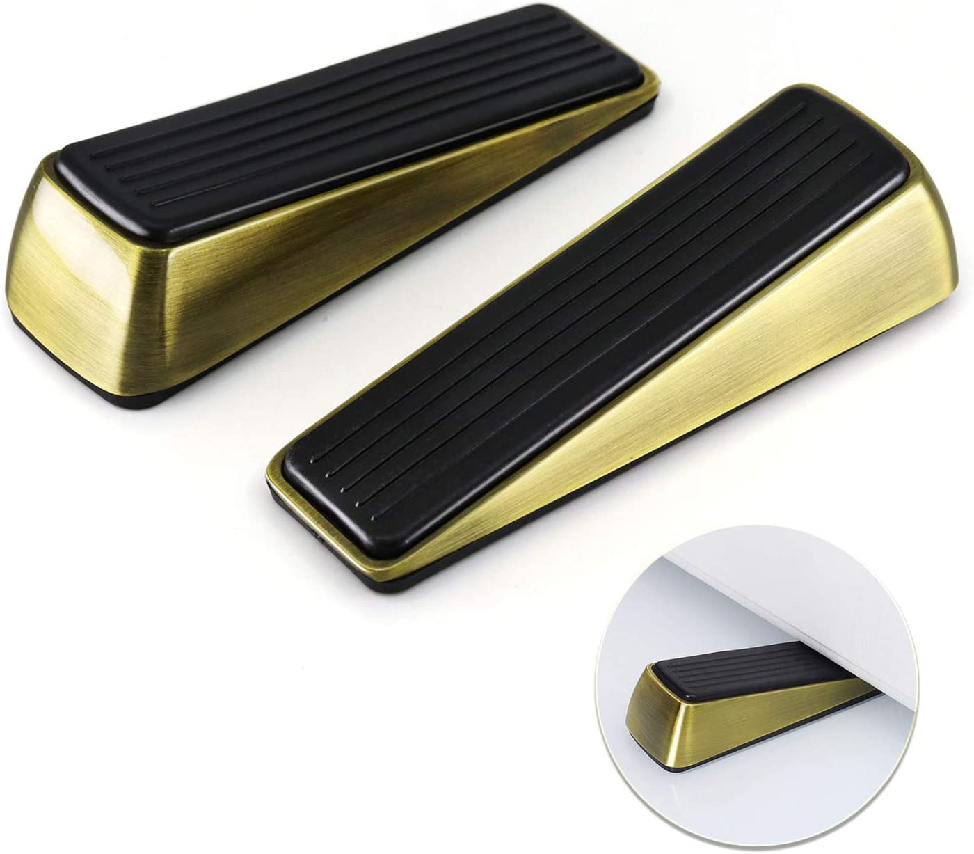 2 Pack Door Stop - Heavy Duty Door Stopper - Wedge Holds Doors Firmly and Doesn't Budge - Made of Rubber and Zinc Alloy, for Home Premium Door Stopper and Office, Works on All Door (Bronze Tone)