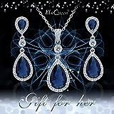 EleQueen 925 Sterling Silver Full Cubic Zirconia Teardrop Bridal Pendant Necklace Dangle Earrings Set