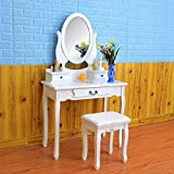 FCH Wooden Girls Vanity Set White Dressing Makeup Table with Drawers&Mirrors Bedroom Bathroom Vanity Table (3 Drawers,White)