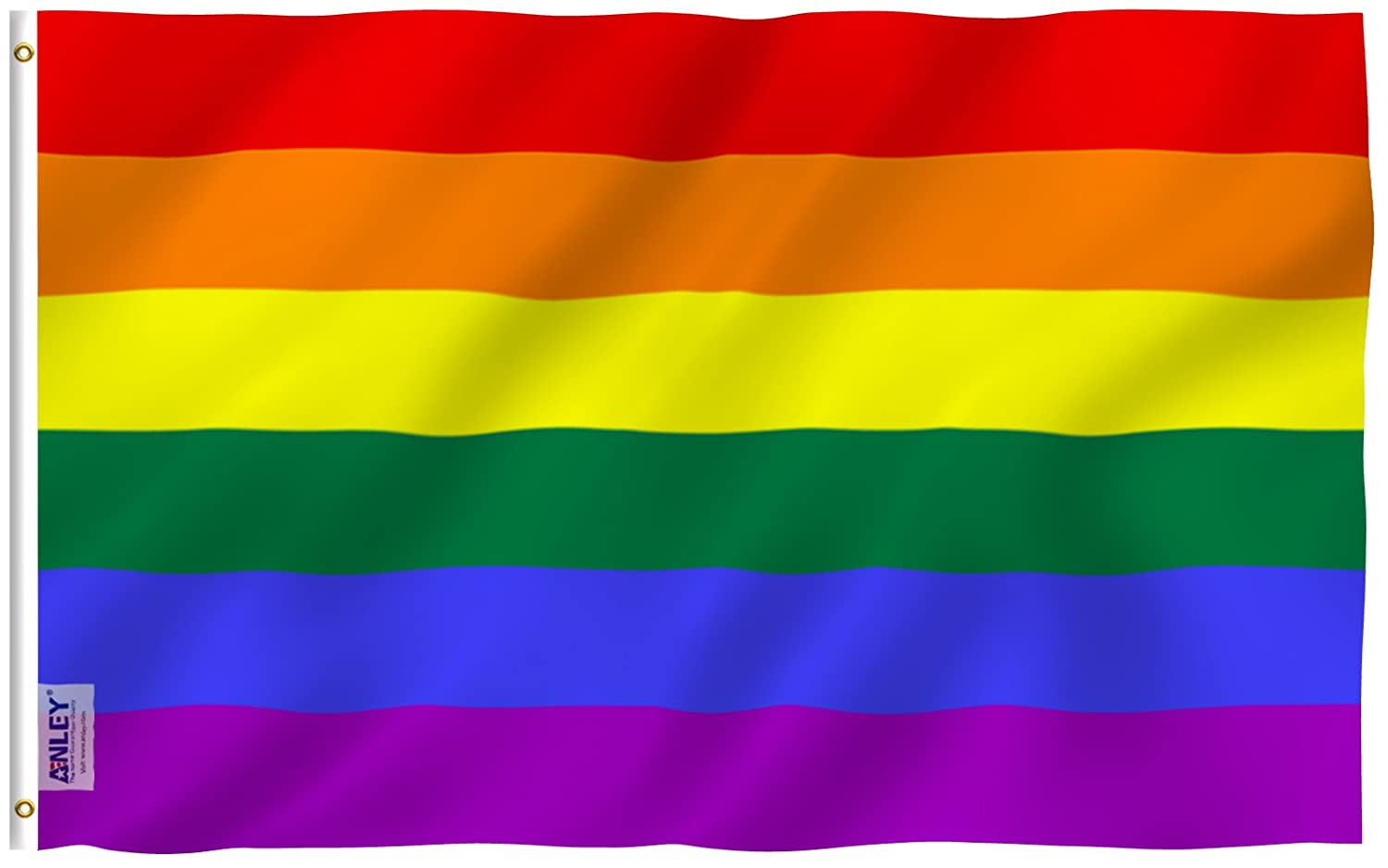 Anley [Fly Breeze 3x5 Foot (90 X 150cm) Rainbow Flag - Vivid Color UV Fade Resistant - Canvas Header Double Stitched - Gay Pride Banner Flags Polyester Brass Grommets 3 X 5 Ft