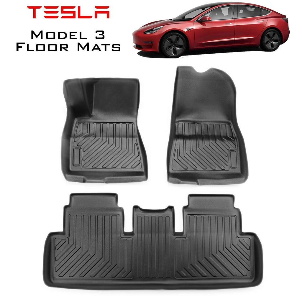 Hiyougen Tesla Model 3 TPE Front and Rear Interior Liner Mats Heavy Duty Custom Fit All Weather Waterproof Floor Mats Set, Black by Hiyougen