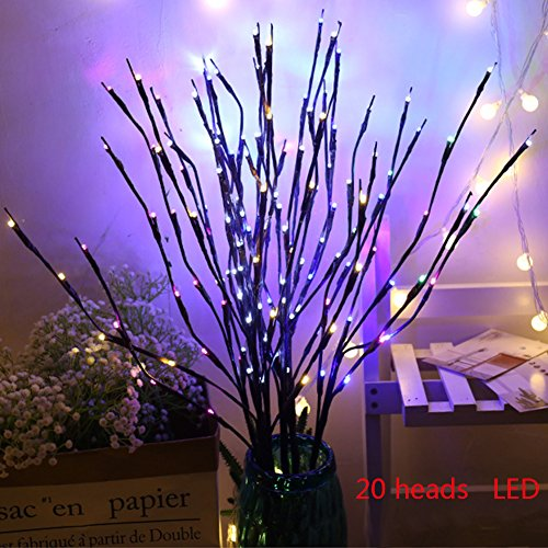 GEZICHTA 2 Pack LED Branch Light Twig Lights, 40 LED Branch Lights Artificial Tree Willow Branches Lamp for Home Holiday Party(Colorful)