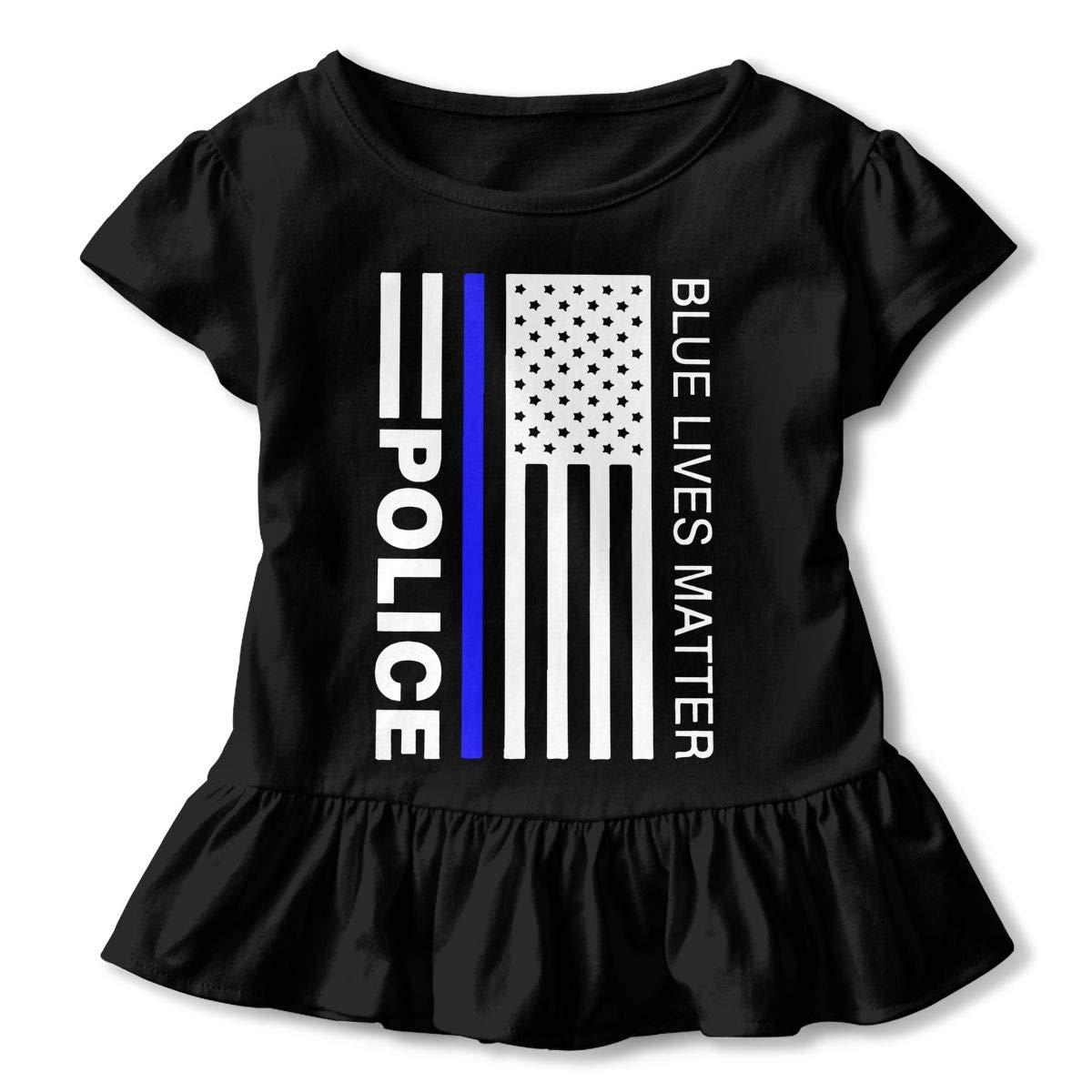 Blue Lives Matter Police Toddler//Infant Girls Short Sleeve Ruffles Shirt T-Shirt for 2-6 Toddlers